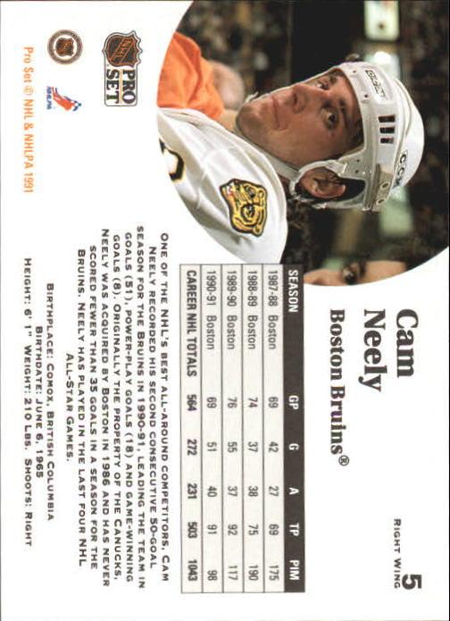 1991-92 Pro Set #5 Cam Neely back image