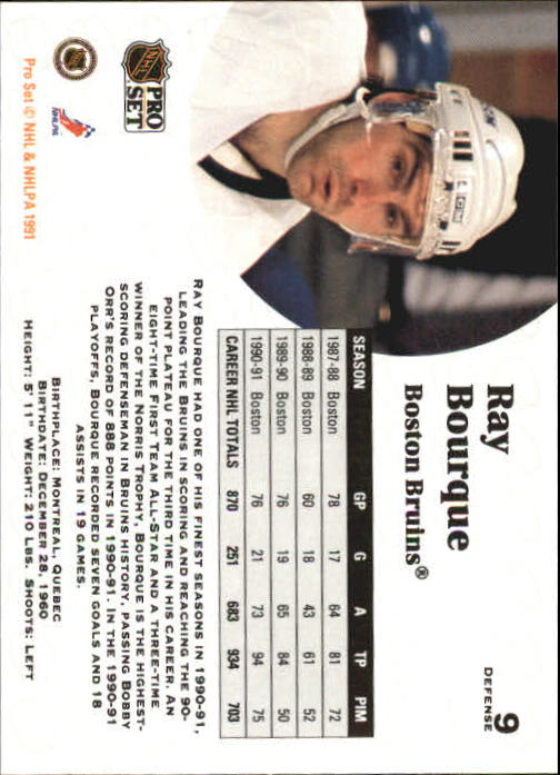 1991-92 Pro Set #9 Ray Bourque back image