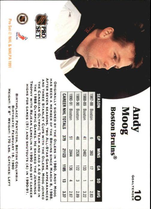 1991-92 Pro Set #10 Andy Moog UER back image