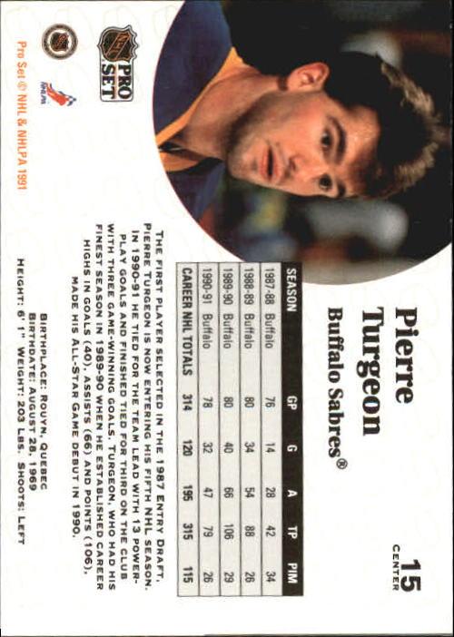 1991-92 Pro Set #15 Pierre Turgeon UER back image
