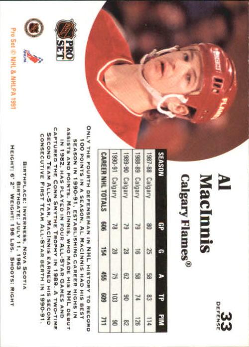 1991-92 Pro Set #33 Al MacInnis back image
