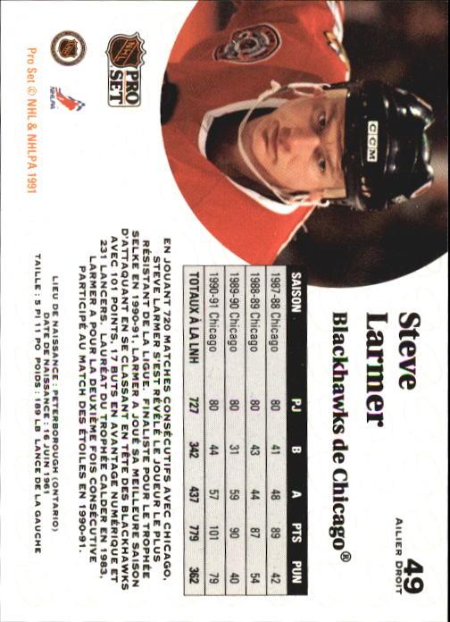 1991-92 Pro Set #49 Steve Larmer back image