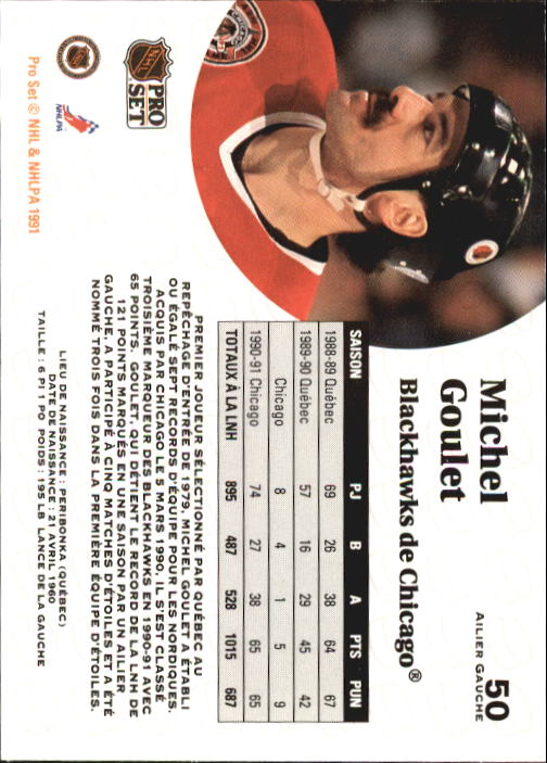 1991-92 Pro Set #50 Michel Goulet back image