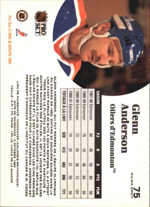 1991-92 Pro Set #75 Glenn Anderson back image