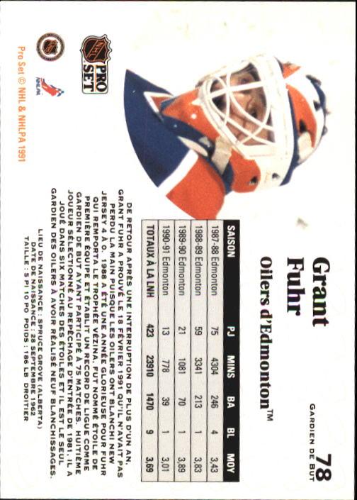 1991-92 Pro Set #78 Grant Fuhr back image