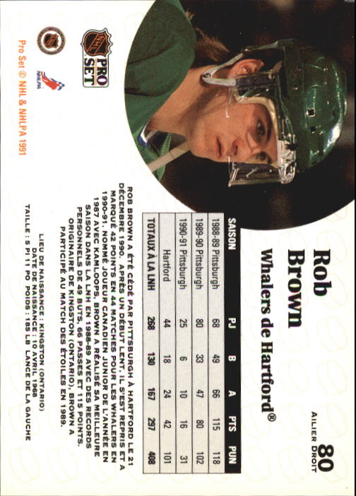 1991-92 Pro Set #80 Rob Brown back image