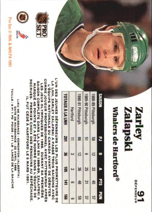 1991-92 Pro Set #91 Zarley Zalapski back image