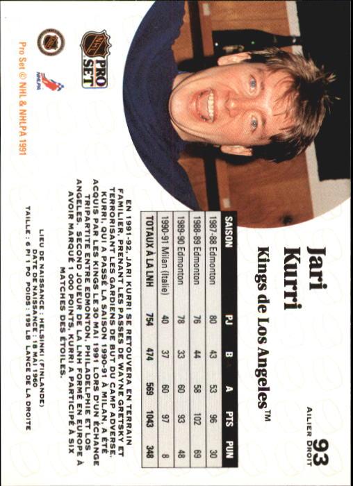 1991-92 Pro Set #93 Jari Kurri UER back image