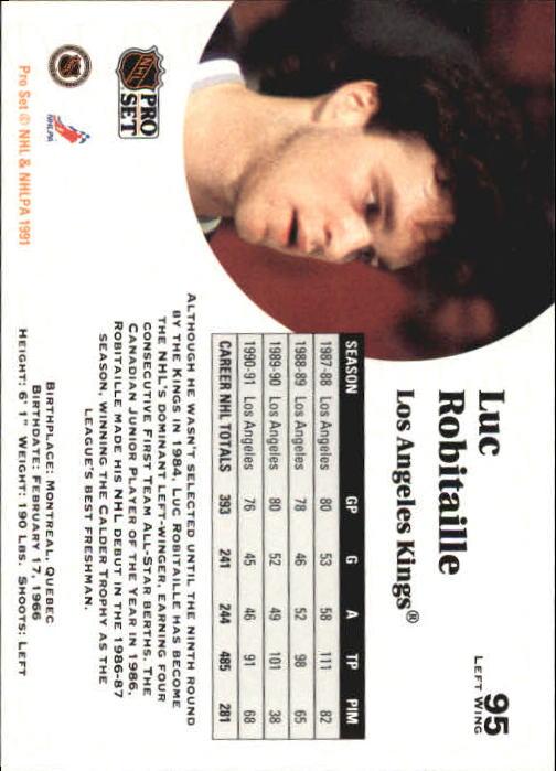 1991-92 Pro Set #95 Luc Robitaille back image