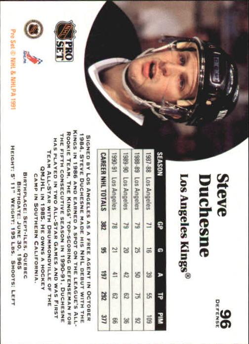 1991-92 Pro Set #96 Steve Duchesne back image