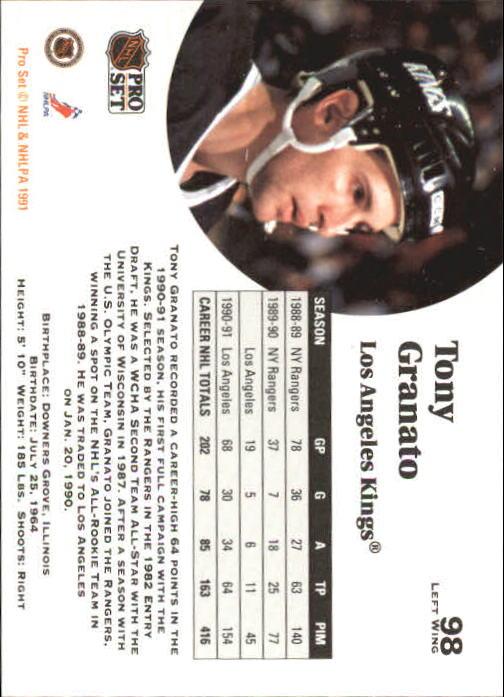 1991-92 Pro Set #98 Tony Granato back image