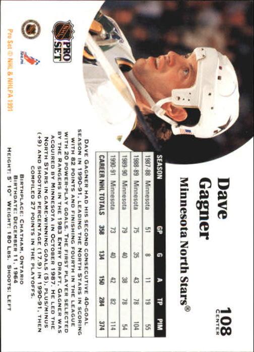 1991-92 Pro Set #108 Dave Gagner back image