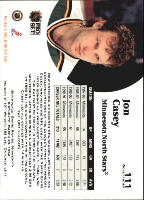 1991-92 Pro Set #111 Jon Casey back image
