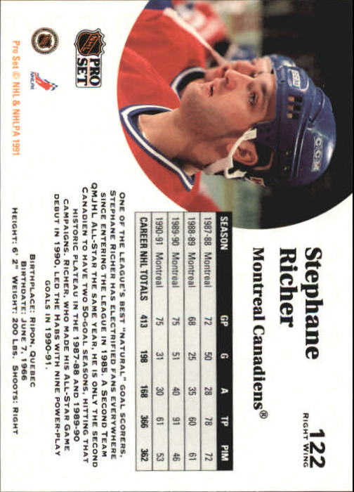 1991-92 Pro Set #122 Stephane Richer back image
