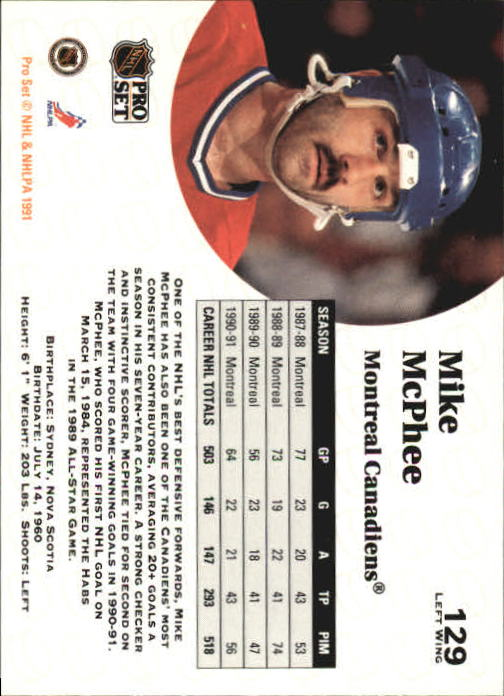 1991-92 Pro Set #129 Mike McPhee back image