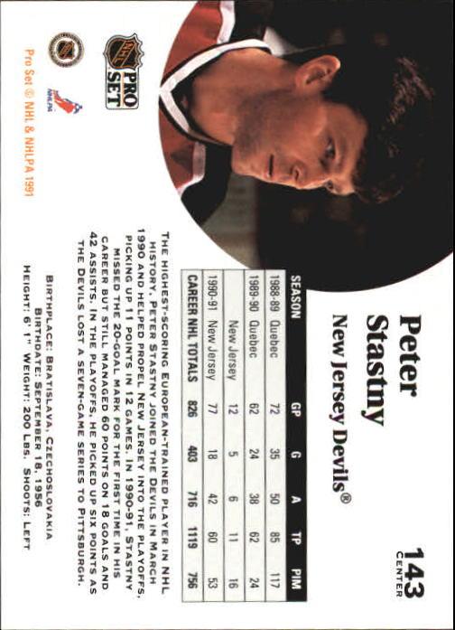 1991-92 Pro Set #143 Peter Stastny back image