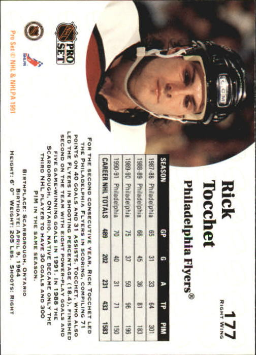 1991-92 Pro Set #177 Rick Tocchet back image