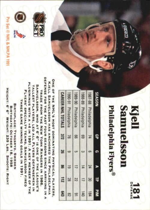 1991-92 Pro Set #181 Kjell Samuelsson back image