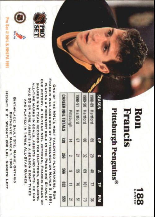 1991-92 Pro Set #188 Ron Francis back image
