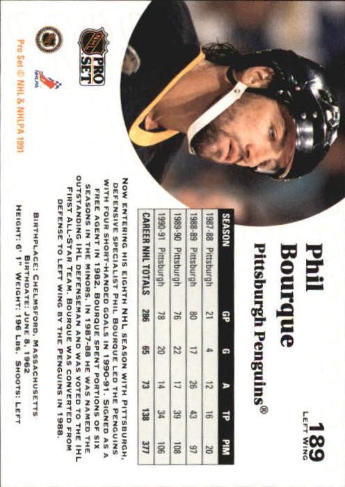 1991-92 Pro Set #189 Phil Bourque back image