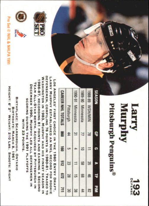 1991-92 Pro Set #193 Larry Murphy back image