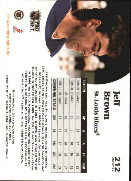 1991-92 Pro Set #212 Jeff Brown back image