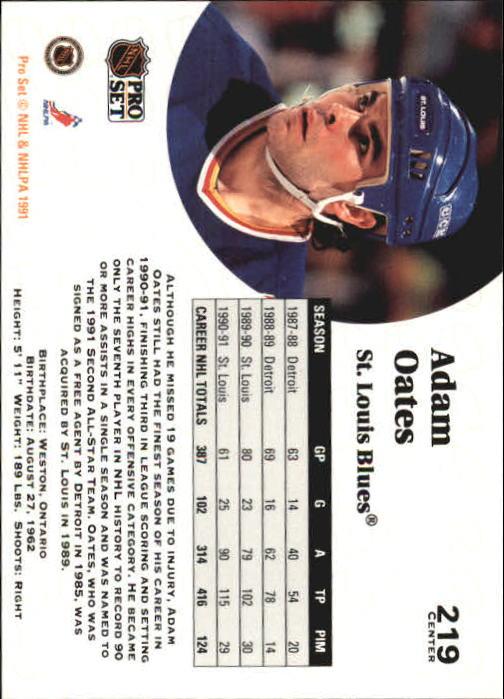 1991-92 Pro Set #219 Adam Oates UER back image