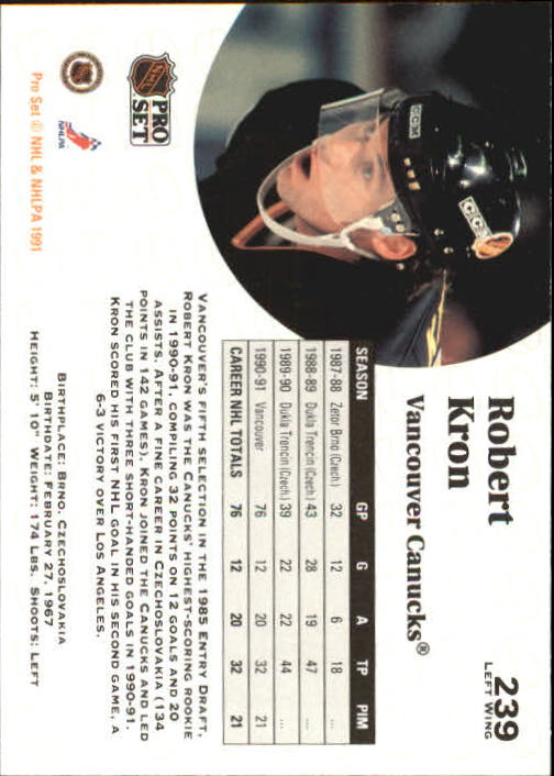 1991-92 Pro Set #239 Robert Kron UER/(Type in stat box is/smaller than others back image