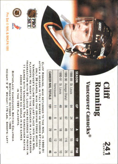 1991-92 Pro Set #241 Cliff Ronning back image