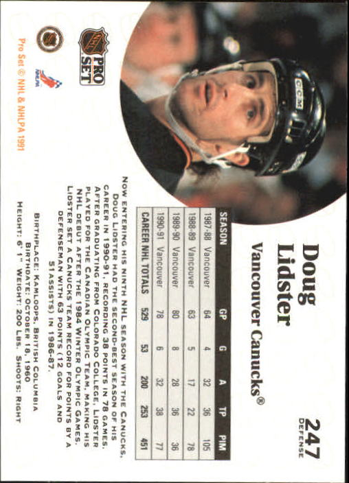 1991-92 Pro Set #247 Doug Lidster UER/(No space between 51/and assist back image