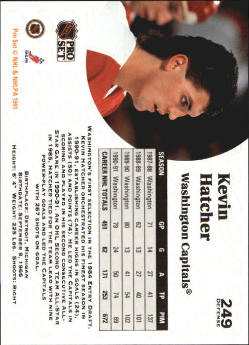 1991-92 Pro Set #249 Kevin Hatcher back image