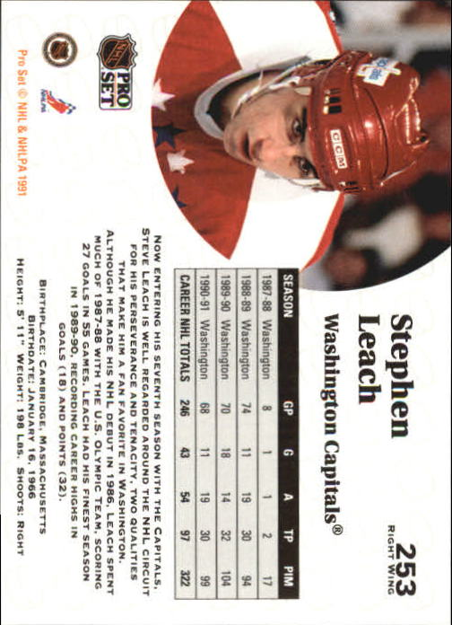 1991-92 Pro Set #253 Stephen Leach back image
