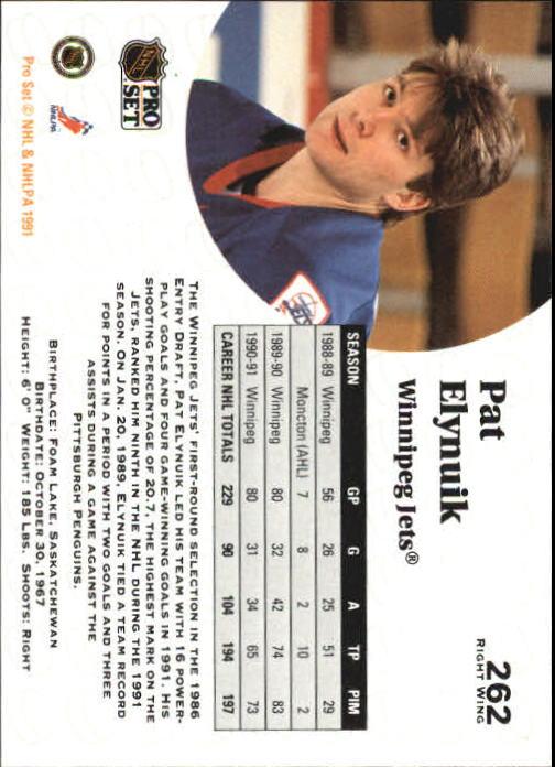 1991-92 Pro Set #262 Pat Elynuik back image