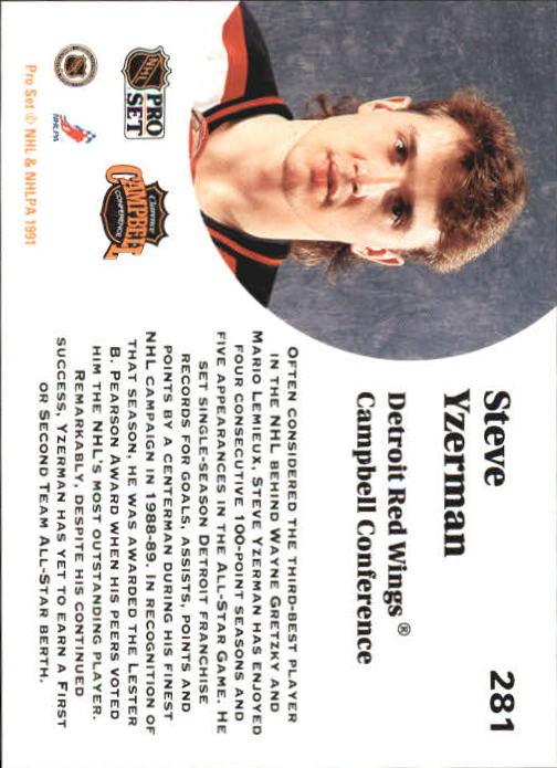 1991-92 Pro Set #281 Steve Yzerman AS back image