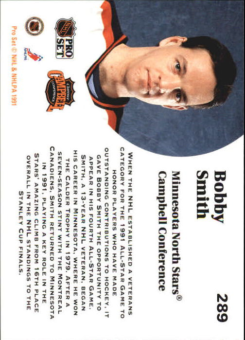 1991-92 Pro Set #289 Bobby Smith AS back image