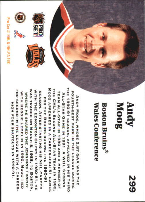 1991-92 Pro Set #299 Andy Moog AS back image
