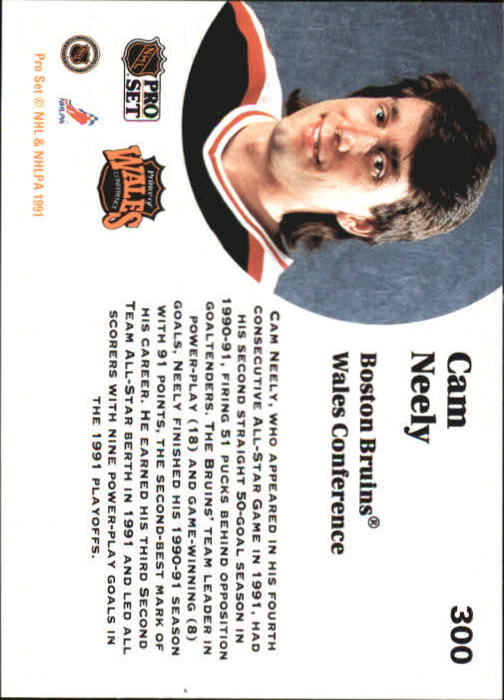 1991-92 Pro Set #300 Cam Neely AS back image