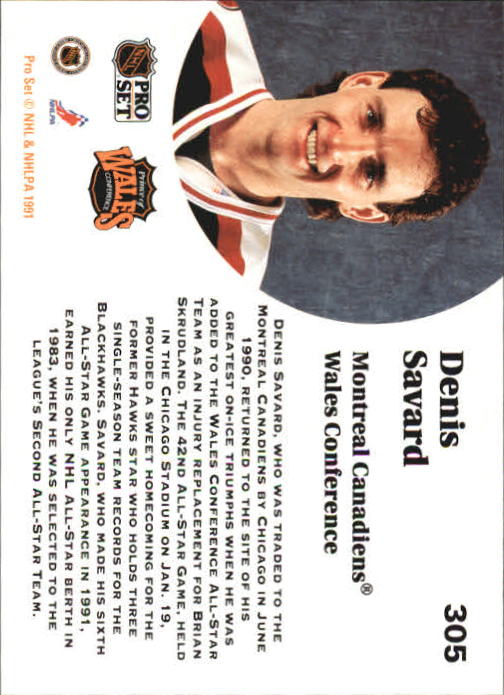 1991-92 Pro Set #305 Denis Savard AS back image