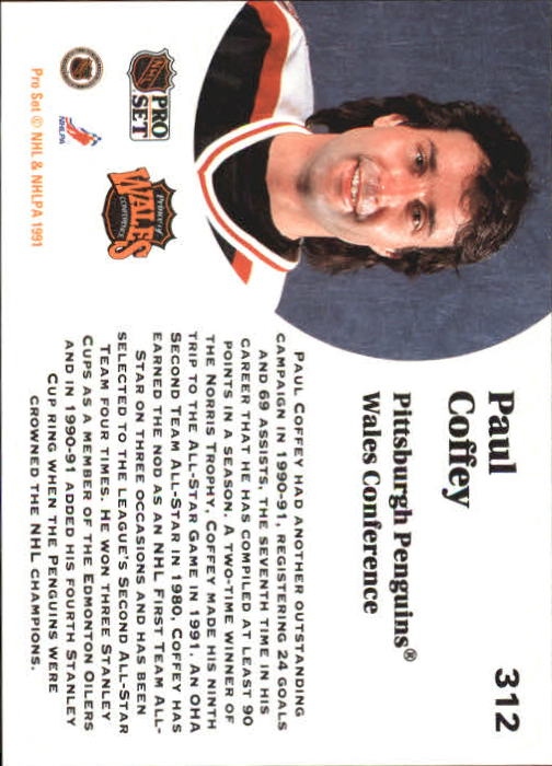 1991-92 Pro Set #312 Paul Coffey AS back image