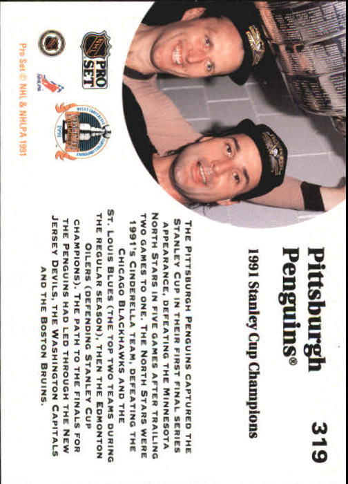1991-92 Pro Set #319 Pittsburgh Penguins UER back image