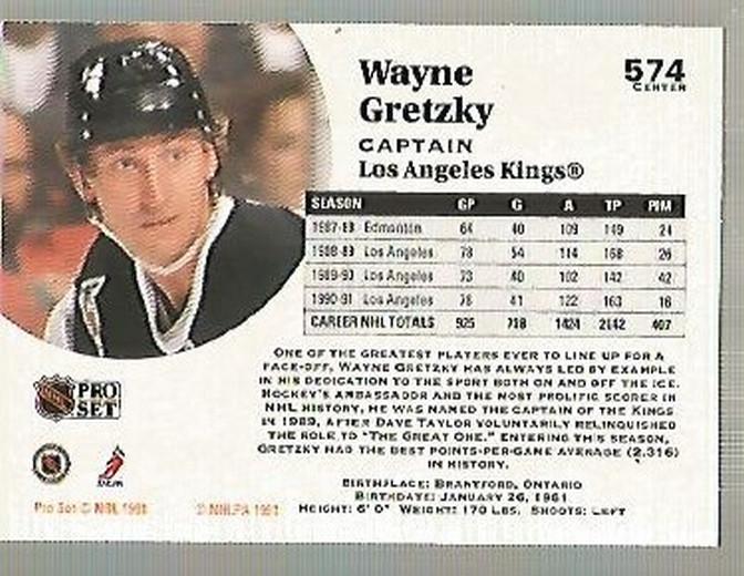 1991-92 Pro Set #574 Wayne Gretzky CAP back image