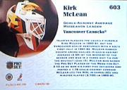 1991-92 Pro Set #603 Kirk McLean UER LL back image