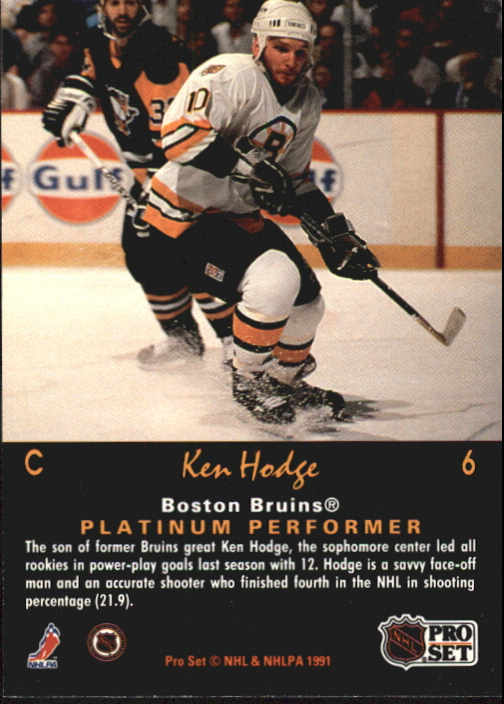 1991-92 Pro Set Platinum #6 Ken Hodge Jr. back image