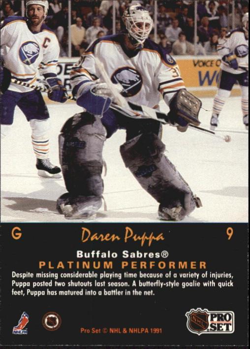 1991-92 Pro Set Platinum #9 Daren Puppa back image