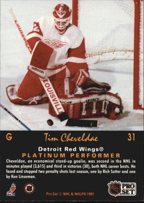 1991-92 Pro Set Platinum #31 Tim Cheveldae back image