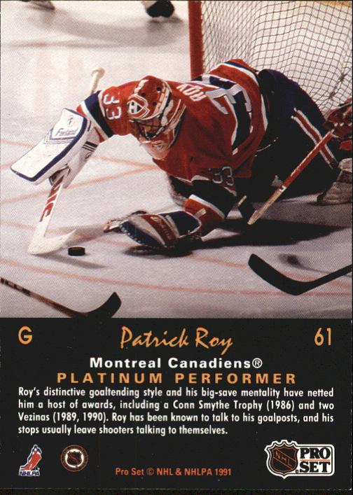 1991-92 Pro Set Platinum #61 Patrick Roy back image