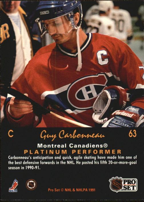 1991-92 Pro Set Platinum #63 Guy Carbonneau back image