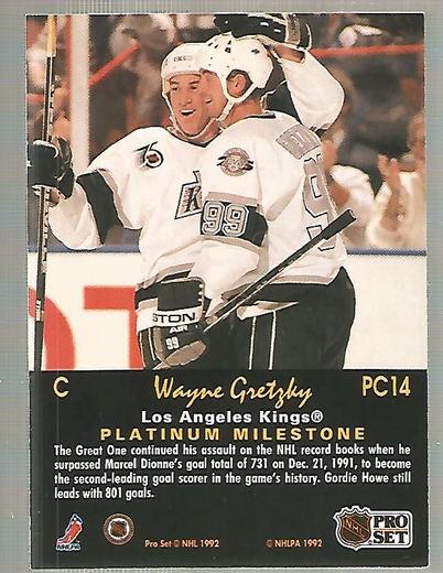 1991-92 Pro Set Platinum PC #PC14 Wayne Gretzky back image