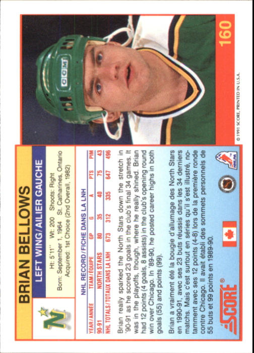 1991-92 Score Canadian Bilingual #160 Brian Bellows back image