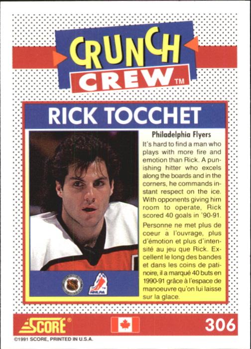 1991-92 Score Canadian Bilingual #306 Rick Tocchet Crunch back image